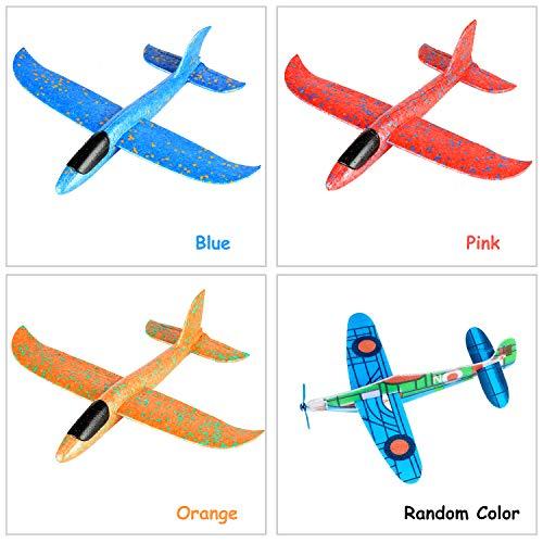 Ulikey 4 Stück 35cm Segelflugzeug, Kinder Styroporflieger Flugzeug, Modell Schaum Flugzeug, Manuelles Wurfspiel mit 6 kleine Flugzeuge, Flugzeug Outdoor-Sportarten Spielzeug
