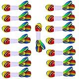 CAILI Schnürsenkel,Breite Flache Bunte Schnürsenkel,Farbverlauf Schuh Schnürsenkel,Geeignet für Viele Arten von Schuhen,Kann Auch als Dekoration Verwendet Werden,Geschenkbänder (1.1M,15 Paar)