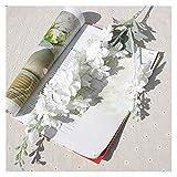 QIANGQSM 86 cm Flor Artificial 2 Tenedor Mil Mil Flower Wisteria Hydrangea Rattan Inicio Balcón Boda Techo Decoración Flores Artificiales (Color : White)