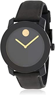 Movado Bold Stainless Steel Black Leather Dial Quartz Mens Watch 3600480