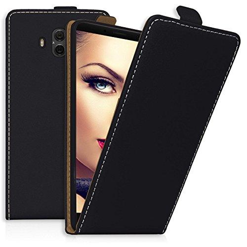 mtb More Energy® Funda Flip Case para Huawei Mate 10 (ALP-L09, L29 / 5.9'') - Negro - Cuero sintético - Carcasa Cubierta Estuche