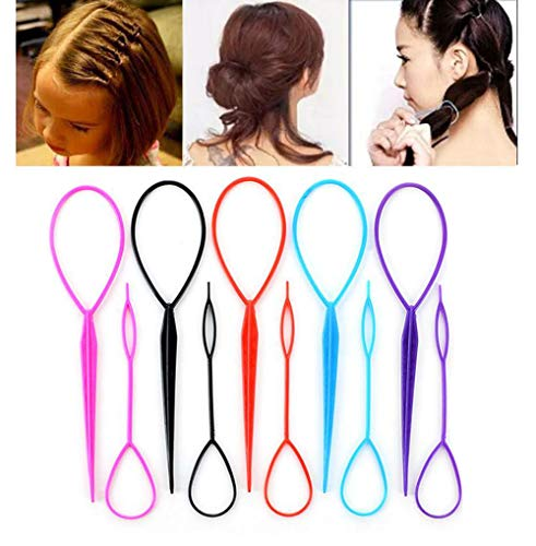 10PCS(5 Large + 5 Small) Tail Hair Styling Kit Plastic Magic Hair Braider Ponytail Maker Clip Tool Simple DIY Hair Styling Accessories Hair Pull Needle Hair Pins(Color Random)