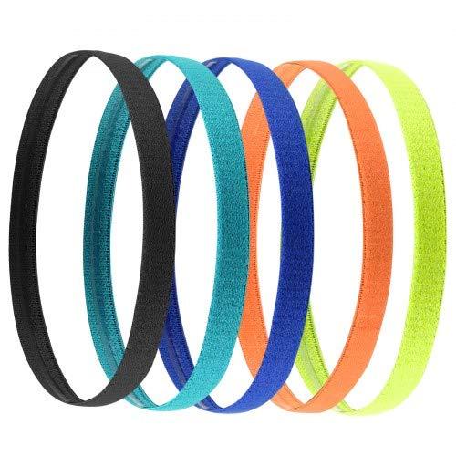 Jinlaili Sport Stirnband Dünn, 5 STK Antirutsch Elastische Stirnbänder, Sport Haarband Dünn für Damen, Frauen, Herren, Mädchen, Kinder, 5 Farben