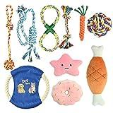 YMHPRIDE 10 Paquetes de Juguetes de Cuerda para Perros, Juguetes para Masticar Cachorros, Juegos de Regalo, Cuerda de algodón Natural, Cuerda Resistente, Juguete para Cachorros, Duradero y Lavable