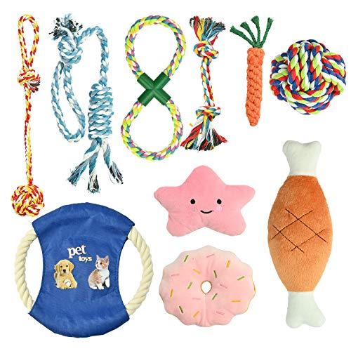 YMHPRIDE 12 confezioni Giocattoli con corde per cani Giocattoli da masticare per cuccioli Set regalo Corda di cotone naturale Corda resistente Giocattolo per cuccioli Dentizione Durevole e lavabile