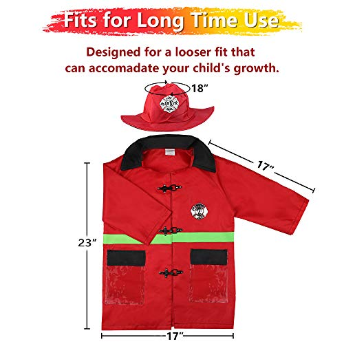iPlay, iLearn Kids Fire Chief Costume, Halloween Fireman Dress Up Set, Fire Fighter Outfit, Pretend Role Play Firefighter Gifts for 3, 4, 5, 6 Year Old Toddler