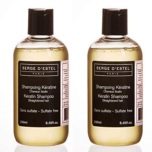 Shampoo Keratin ohne sulfate 2x250 ml Glättung des brasilianischen Haares, geglättetes Haar, glättende Wirkung.