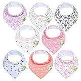 Organic Baby Bandana Drool Bibs for Girls - Super Absorbent Organic Cotton Bandana Bibs - Baby Drool Bib - Teething Bibs - Handkerchief Bibs for Infant, Toddler - 8-Pack Bib Set (Pink Dreams)