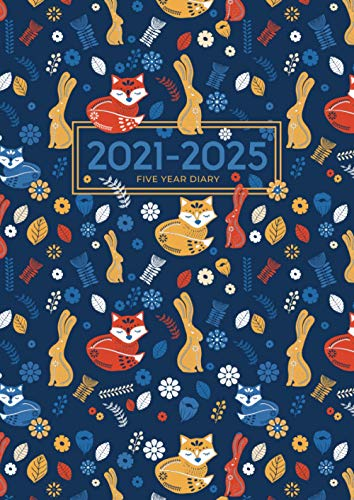 2021-2025 A4 Five Year Diary | Scandinavian Fox and Rabbit: UK Month to View Planner with UK Holidays / Moon Phases, Tabs, Birthdays (Personal Organisers and Planners, Calendars, Agendas, Band 6)