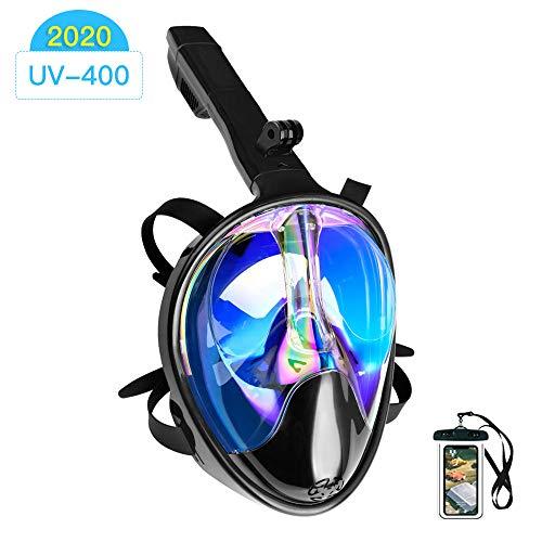 Arkmiido Máscara de Buceo, máscara de Snorkel Full Face 180 ° Visible con Soporte para cámara Deportiva, Fuga submarina Anti-huida, Anti-UV, para Adultos (S/M)