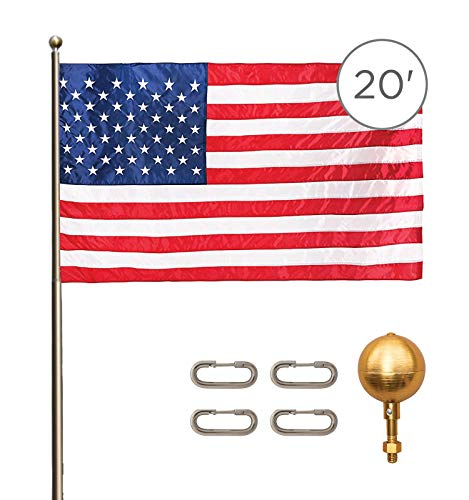 Titan Telescoping Flag Poles, 20ft Light Bronze – Heavy Duty Flag Pole Kit, Includes Aluminum Telescoping Flag Pole, 4 x 6 American Flag, Hardware for 2 Flags and Detailed Installation Instructions