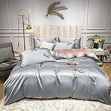 Naapgd Juego de 4 piezas con bordado de letras de seda lavadas, sábana, funda de edredón y funda de almohada de 220 x 240 cm