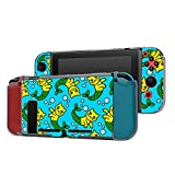 Dockable Case Compatible with Nintendo Switch Console and Joy-Con Controller, Patterned ( Funny cat costume mermaid pattern ) Protective Case Cover with Tempered Glass Screen