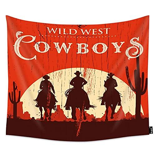 Tapiz de vaqueros, silueta de caballos, caballo en una señal de madera, para colgar en la pared, dormitorio, sala de estar, dormitorio, 60WX51H pulgadas