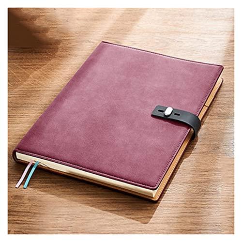 QWEA Cuaderno de diario grande de cuero, oficina de negocios, trabajo diario, cuaderno de estudiante, cuaderno de notas engrosado de papel Dowling (B5) (color: rojo)