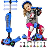 SKIDEE Kick Scooters for Kids 2-12 Years Old - Foldable Scooter with Removable Seat, 3 LED Light Wheels, Back Wheel Brake, Wide Standing Board, and Adjustable Height - 130 Lbs Capacity – Y100