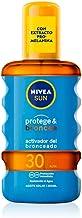 NIVEA SUN Protege & Broncea Aceite Solar FP30 (1 x 200 ml), activador del bronceado, protección solar alta resistente al agua con 0% autobronceador