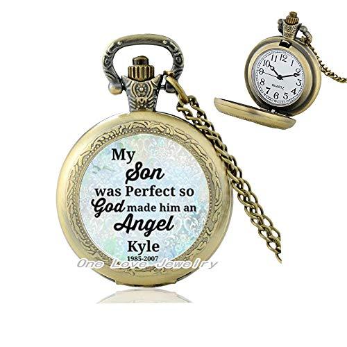 Ni36uo0qitian0ozaap Conmemorando el collar del reloj de bolsillo, conmemorando el encanto conmemorativo, mi es un ángel, muerto muerto, perdido el, TAP283