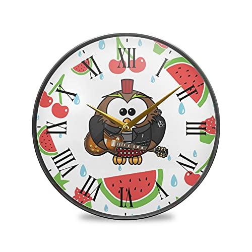 Pájaro Búhos Cereza Arte Reloj de Pared Silencioso Decorativo Relojs para Niños Niñas Cocina Hogar Oficina Escuela Decoración