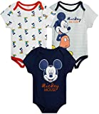 Disney Baby Boys 3 Pack Bodysuits - Mickey Mouse & Friends (Newborn), Size 12 Months, Mickey Navy