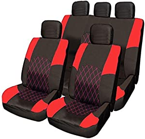 Opel Vauxhall Vectra Zafira RED  amp  BLACK Cloth Seat Cover Set Split Rear Seat