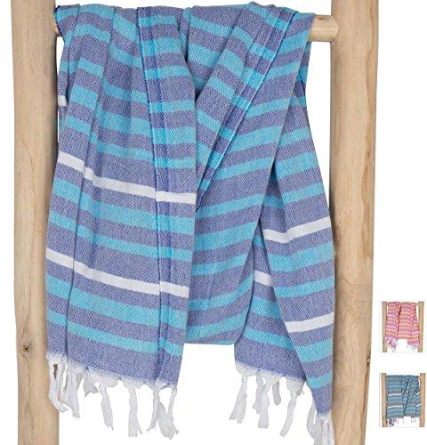 ZusenZomer Hamamdoek Fouta IBIZA - Dunne Hammam Handdoek Strandlaken Badhanddoek Saunadoek Hamman Doek - 100% Katoen - Dames/Heren - Kwalitatieve Fairtrade Hamamdoeken (Turquoise en blauw, 95x85 cm)