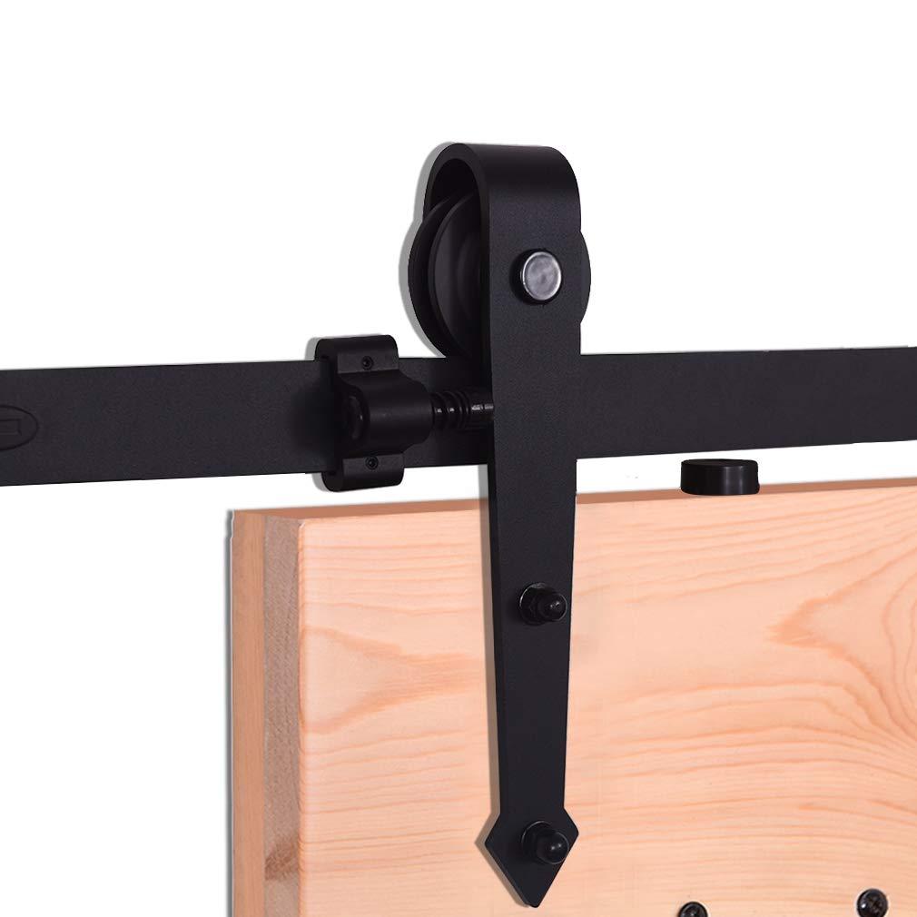 304CM/10FT Herraje para Puerta Corredera Kit de Accesorios para Puertas Correderas Juego de Piezas,para puerta doble,negro: Amazon.es: Bricolaje y herramientas