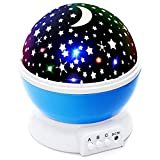 Lizber Baby Night Light Moon Star Projector 360 Degree Rotation - 4 LED Bulbs 9 Light Color Changing with USB Cable, Unique Gifts for Men Women Kids Best Baby Gifts Ever