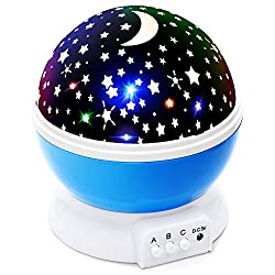 Lizber Baby Night Light Moon Star Projector 360 Degree Rotation - 4 LED Bulbs 9 Light Color Changing With USB Cable