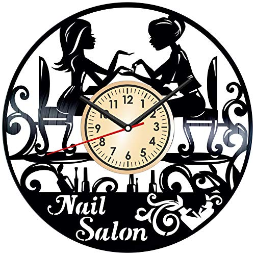 Nail Salon Vintage Vinyl Wall Clock - Great Home Decor for Bedroom Kitchen Living Room Idea Birthday Christmas Anniversary for Him Her - Unique Wall Art - Size 12 Inches