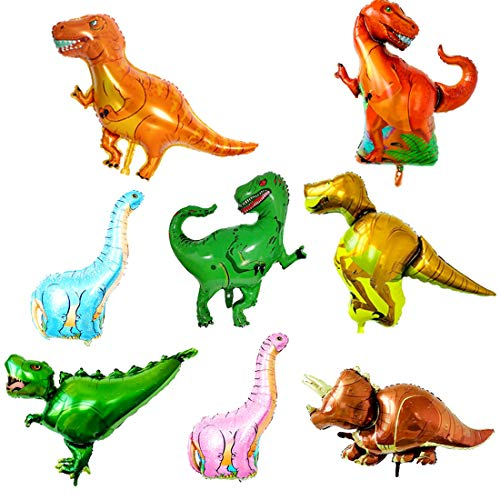 O-Kinee Globo de Dinosaurio, 8pcs Dinosaurio Globo de Helio, Globos Dinosaurios de Papel de Aluminio, Dinosaurio Jurásico Globos Fiesta, Suministros de Decoración de Cumpleaños para Niños (A)