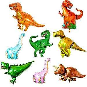 O-Kinee Globo de dinosaurio,8 pcs Dinosaurio Globo de Helio,Globos Dinosaurios de Papel de Aluminio,Dinosaurio Jurásico Globos Fiesta,Suministros de Decoración de Cumpleaños Para Niños (8 pcs)