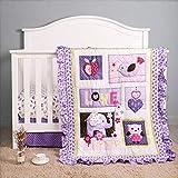 3D Elephant Bird Baby Girl Nursery Crib Bedding Sets Purple White 3Piece   Crib Comforter, Crib Sheet, Dust Ruffle