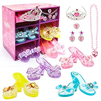 Girls Princess Dress up Shoes Set Hodola Girls Play Shoes and Jewelry Boutique Role Play Collection Shoes Set Gift Set with Princess Tiara and Accessories Jewelries for 3 4,5 Years Old Girls and up