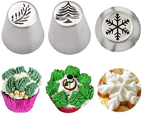 3 PCS Christmas Pastry Icing Piping Nozzles Special Stainless Steel Russian Piping Tips Set product image