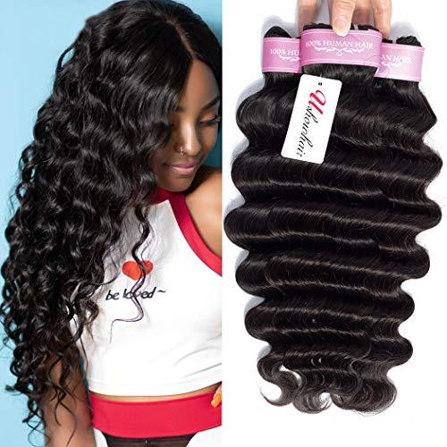 Brazilian Hair Loose Deep Wave Bundles 10A Grade Unprocessed Human Hair Bundles 12 14 16inch Deep Curly Human Hair Weave 3 Bundles Remy Hair Loose Wave Bundles Natural Black