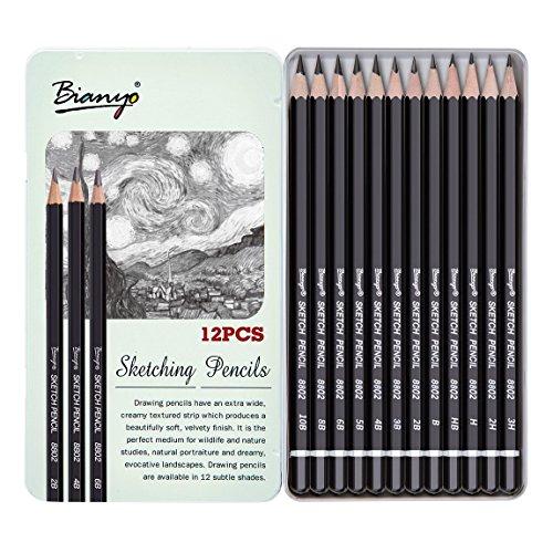 Bianyo Artist Quality Fine Art Drawing & Sketching Pencils (3H, 2H, H, HB, B, 2B, 3B, 4B, 5B, 6B, 8B, 10B), 12 Piece Set