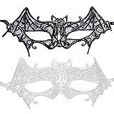 PRETYZOOM 2 Piezas Máscaras de Ojos de Encaje Máscaras de Murciélago de Encaje Máscaras de Carnaval Accesorio de Disfraces para Fiesta de Disfraces de Carnaval de Halloween Baile de Graduación