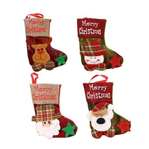 Amosfun 4pcs Weihnachtssocken-Form-Süßigkeitstaschen Sankt-Schneemann-Elch-Bärn-Muster-Weihnachtsimitatleder-Socken-Geschenk-Beutel-hängender Dekor für Baum-Kamin-Wand-Tür Unisex