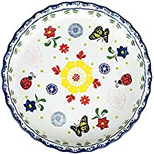 Handpainted Floral Ceramic Round Baking Dish Pie Plate Serving Dish Bakeware