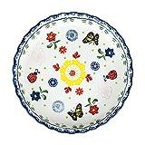 10 inch Handpainted Floral Ceramic Round Baking Dish Pie Plate Serving Dish Bakeware