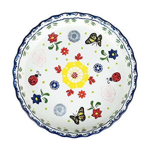 10 inch Handpainted Floral Ceramic Round Baking Dish Pie Plate Serving Dish Bakeware