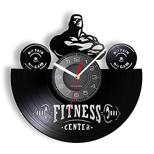 LED Relojes de Pared de 7 Colores Sin Dolor Sin Ganancia Hecho de Disco de Vinilo Real Gimnasio Pesas Hombre Decoración Reloj Regalo para Culturista con luz