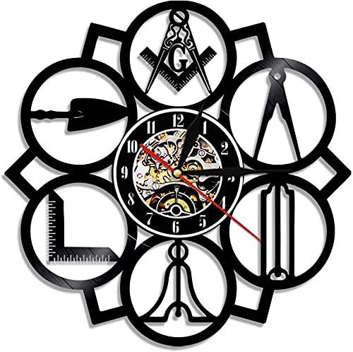 Free mason logo free mason led disco de vinilo reloj de pared estilo retro decoración silenciosa del hogar características de arte únicas accesorios para el hogar regalos personalizados creativos