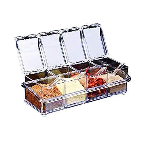 YGHH 4 Stück Küche Gewürzbox Set mit Löffeln, Aufbewahrungsbehälter Würzen, Menage Dosen Container, Transparent Multifunktion 4 in 1 Plastik Gewürzbox mit Deckel und Löffel für Gewürze, Salz, Zucker