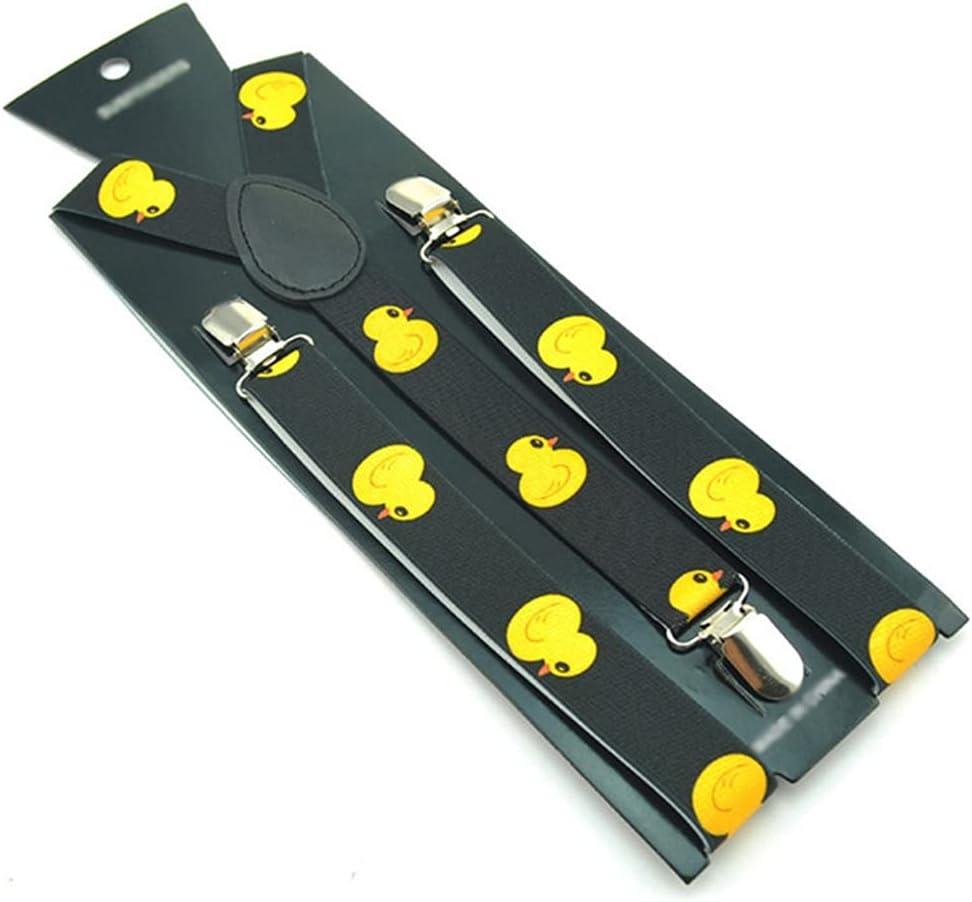 WSSBK Women Men's Unisex Shirt Suspenders for Trousers Fashion Cartoon Yellow Duck Pants Holder Braces (Color : A, Size