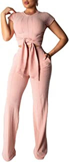 Women's Sexy 2 Piece Outfits - Slim Crop Top Shirts Wide Leg Pants Set Bodycon Jumpsuit