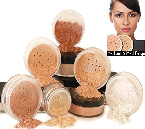 Intelligent Cosmetics® Mineralische Make-Up, Reine Natürliche Make-Up, 6-teiliges Set, 100{16de2b09756c19a992e00c05a119f4d987e5a116c8e2495ec26c6be88a945830} vegan & wurde nie bei Tieren getestet, natürlicher LSF - Medium & Medium Beige