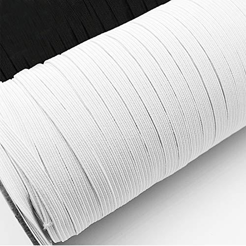 Urhome 5mm Bande Plate Élastique pour Masques | Elastique Couture Tissu Rubans Extensible pour Artisanat à Coudre en Tricot Bricolage Loisir Créatif Vêtements | 5 mètres de Long et Blanc