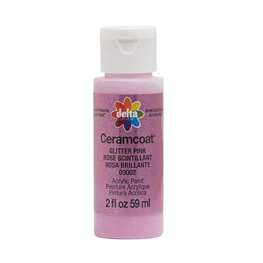 Delta Creative 03002 Ceramcoat 2oz Glitter Pink Acrylic Paint,